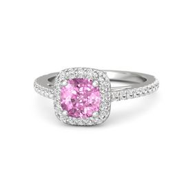 Cushion Pink Sapphire Sterling Silver Ring with White Sapphire