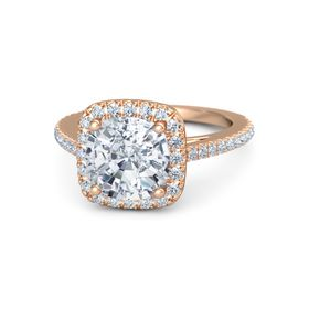 Cushion Diamond 14K Rose Gold Ring with Diamond