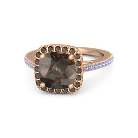 Cushion Smoky Quartz 14K Rose Gold Ring with Smoky Quartz and Tanzanite
