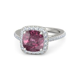 Cushion Rhodolite Garnet 14K White Gold Ring with Diamond