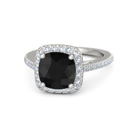 Cushion Black Onyx 14K White Gold Ring with Diamond