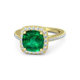 Cushion Emerald 18K Yellow Gold Ring with Diamond