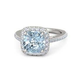Cushion Aquamarine Palladium Ring with Diamond
