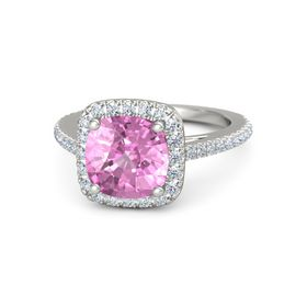 Cushion Pink Sapphire Platinum Ring with Diamond