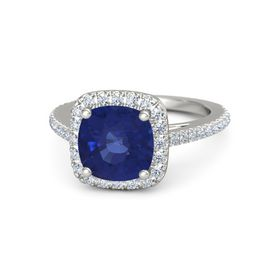 Cushion Sapphire Platinum Ring with Diamond