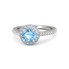 Round Blue Topaz Sterling Silver Ring with Blue Topaz and White Sapphire