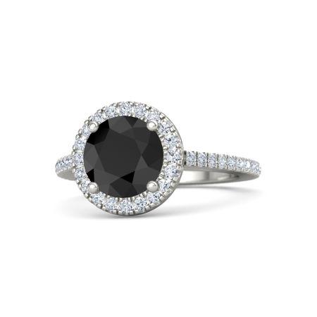 Round Black Diamond Platinum Ring with Diamond | Matilda ...