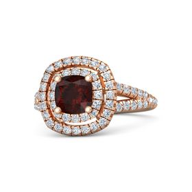 Cushion Red Garnet 14K Rose Gold Ring with Diamond