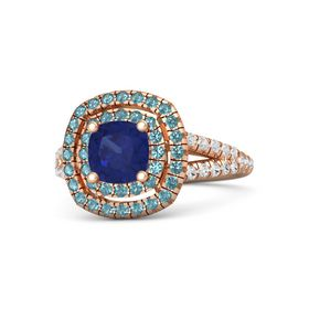 Cushion Sapphire 14K Rose Gold Ring with London Blue Topaz & White Sapphire