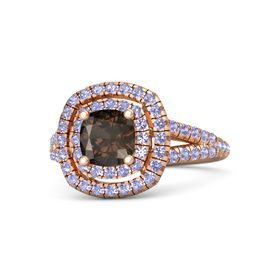 Cushion Smoky Quartz 14K Rose Gold Ring with Tanzanite