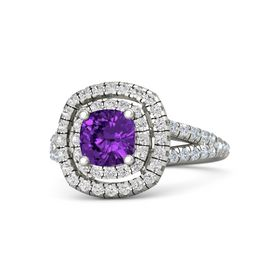 Cushion Amethyst 14K White Gold Ring with White Sapphire and Diamond