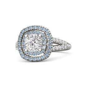 Cushion White Sapphire 14K White Gold Ring with Blue Topaz and White Sapphire