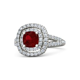 Cushion Ruby 14K White Gold Ring with Diamond