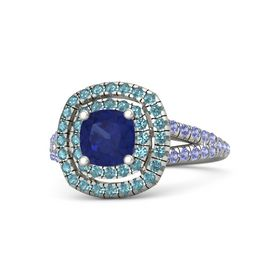 Cushion Blue Sapphire 14K White Gold Ring with London Blue Topaz and Iolite