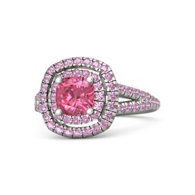 Cushion Pink Tourmaline 14K White Gold Ring with Pink Tourmaline