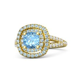 Cushion Blue Topaz 14K Yellow Gold Ring with Aquamarine & White Sapphire