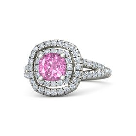Cushion Pink Sapphire 18K White Gold Ring with Diamond