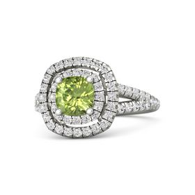 Cushion Peridot 18K White Gold Ring with White Sapphire