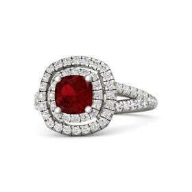Cushion Ruby 18K White Gold Ring with White Sapphire