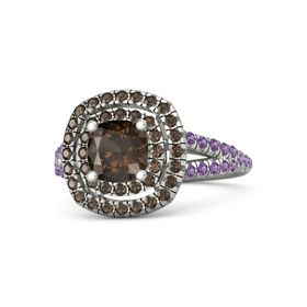 Cushion Smoky Quartz 18K White Gold Ring with Smoky Quartz & Amethyst
