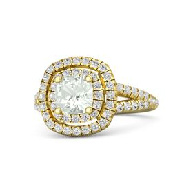 Cushion Green Amethyst 18K Yellow Gold Ring with White Sapphire