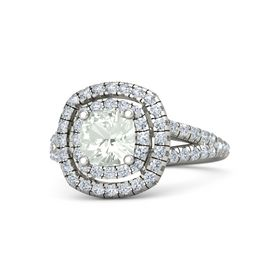 Cushion Green Amethyst Palladium Ring with Diamond