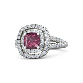 Cushion Rhodolite Garnet Platinum Ring with Diamond