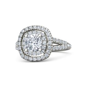 Cushion Moissanite Platinum Ring with Diamond