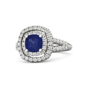Cushion Sapphire Platinum Ring with White Sapphire