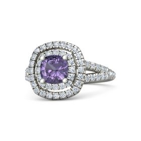 Cushion Iolite Platinum Ring with Diamond