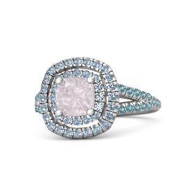 Cushion Rose Quartz Sterling Silver Ring with Blue Topaz & London Blue Topaz
