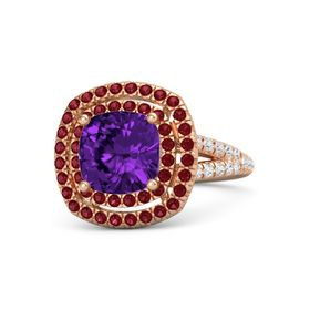 Cushion Amethyst 14K Rose Gold Ring with Ruby and White Sapphire