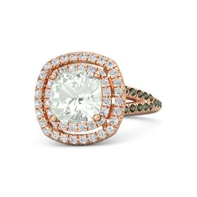 Cushion Green Amethyst 14K Rose Gold Ring with White Sapphire & Green Tourmaline