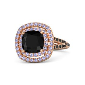 Cushion Black Onyx 14K Rose Gold Ring with Tanzanite and Black Diamond