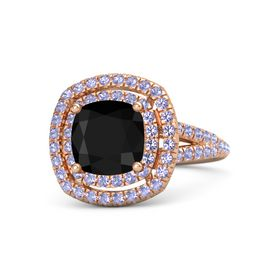 Cushion Black Onyx 14K Rose Gold Ring with Tanzanite
