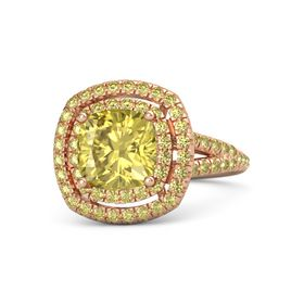 Cushion Yellow Sapphire 14K Rose Gold Ring with Yellow Sapphire