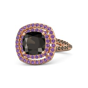 Cushion Smoky Quartz 14K Rose Gold Ring with Amethyst & Smoky Quartz