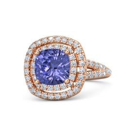 Cushion Tanzanite 14K Rose Gold Ring with Diamond