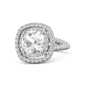 Cushion Rock Crystal 14K White Gold Ring with White Sapphire