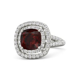 Cushion Red Garnet 14K White Gold Ring with White Sapphire