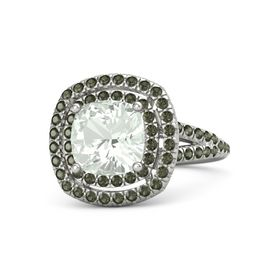 Cushion Green Amethyst 14K White Gold Ring with Green Tourmaline