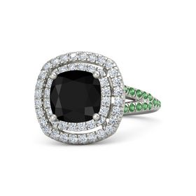 Cushion Black Onyx 14K White Gold Ring with Diamond and Emerald