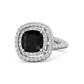 Cushion Black Onyx 14K White Gold Ring with White Sapphire