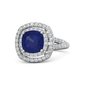 Cushion Sapphire 14K White Gold Ring with Diamond