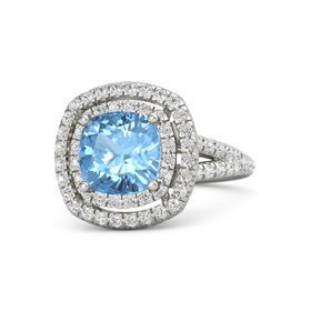 Cushion Blue Topaz 14K White Gold Ring with White Sapphire
