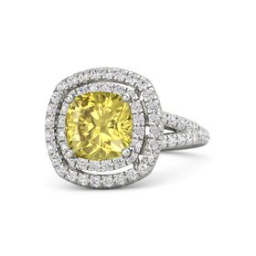 Cushion Yellow Sapphire 14K White Gold Ring with White Sapphire