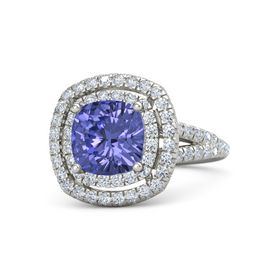 Cushion Tanzanite 14K White Gold Ring with Diamond