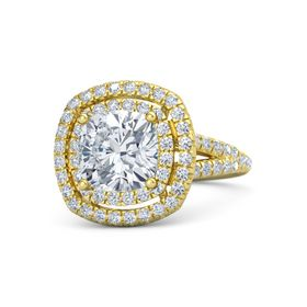Cushion Diamond 14K Yellow Gold Ring with Diamond