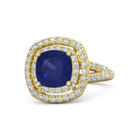 Cushion Sapphire 14K Yellow Gold Ring with Diamond