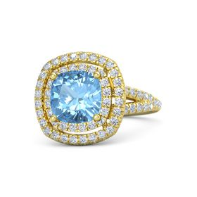 Cushion Blue Topaz 14K Yellow Gold Ring with Diamond